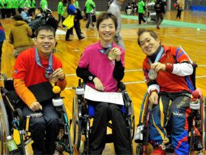 BC2クラスで優勝した杉村、2位の廣瀬(写真右)、3位の梅村(写真左)