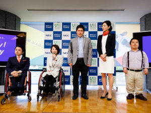 (左から)パラサポ顧問の垣内、講師の岸田、原口、薄葉、山田