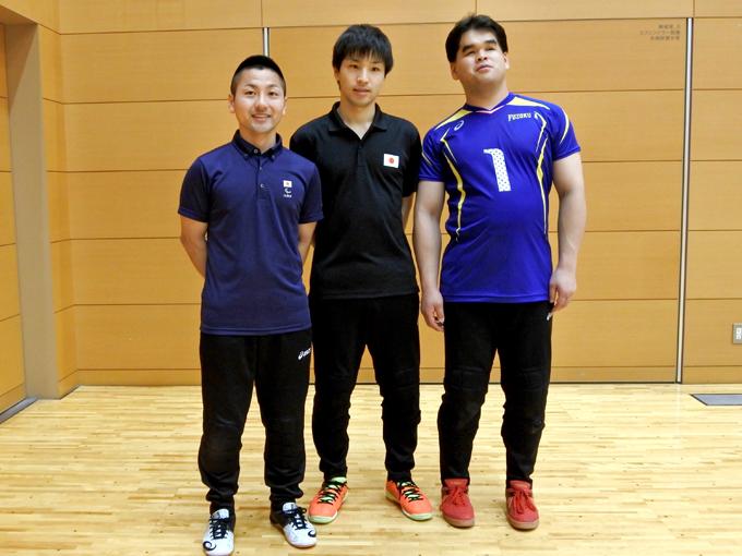 チーム附属Aの(左から)川嶋、小林、信澤