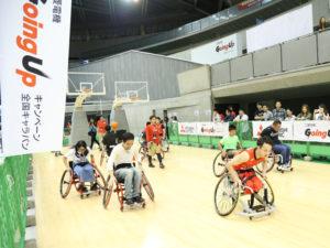 U23の代表選手と車いすバスケット体験