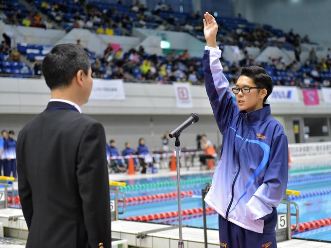 選手を代表して窪田幸太(S9)が声高らかに選手宣誓