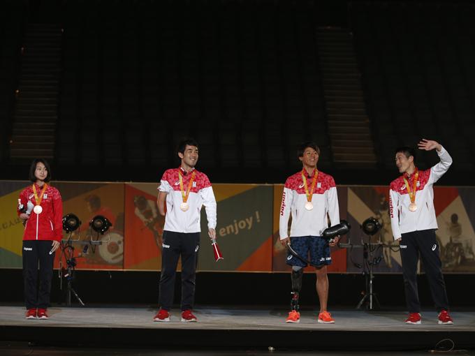 リオパラリンピックの陸上競技で銅メダルを獲得した辻沙絵、多川知希、佐藤圭太、芦田創が登場